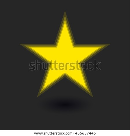 Vector yellow minimalistic star on the black background with shadow