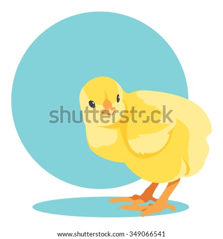 Vector yellow newborn chick - stock vector