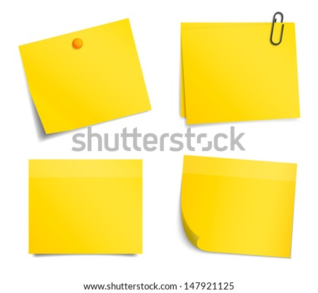 Vector yellow notice stickers on white background - stock vector