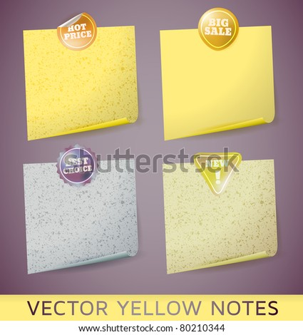 vector yellow paper notes - stock vector