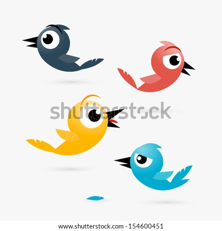 Vector Yellow, Red and Blue Birds Isolated on White Background - stock vector