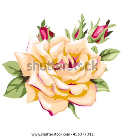 Vector yellow rose with pink bud. Decorative vintage flowers - stock vector