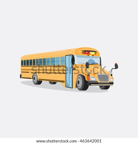 Vector yellow school bus isolated on grey background