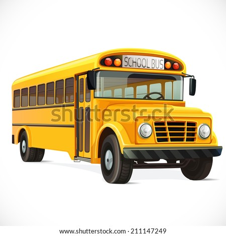 Vector yellow school bus  isolated on white background - stock vector