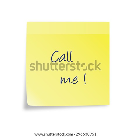 Vector yellow sticky note isolated on white background