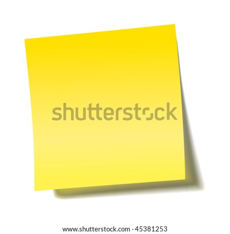 vector yellow sticky note with transparent shade - stock vector