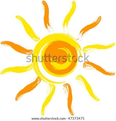 Vector yellow sun. - stock vector