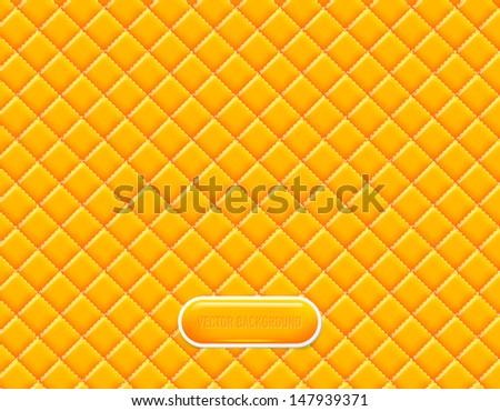 Vector yellow vinyl upholstery padded glossy background - stock vector