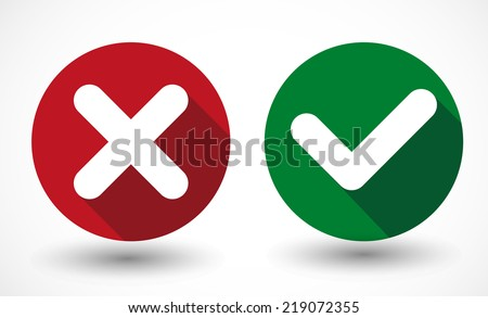 vector Yes and No check marks on circles - stock vector