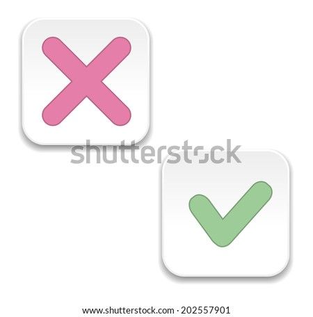 vector Yes and No check marks square form - stock vector