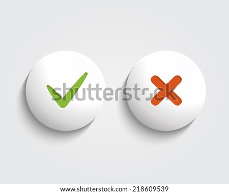 Vector Yes, No check mark on buttons or circles - stock vector