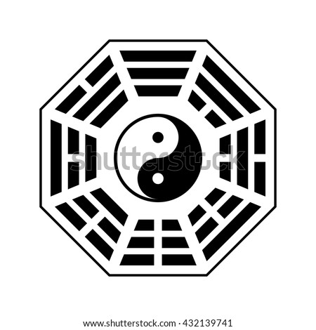 "Vector Yin and yang symbol. Modern yin-yang symbol isolated on white background. Fu Xi ""Earlier Heaven"" bagua arrangement"