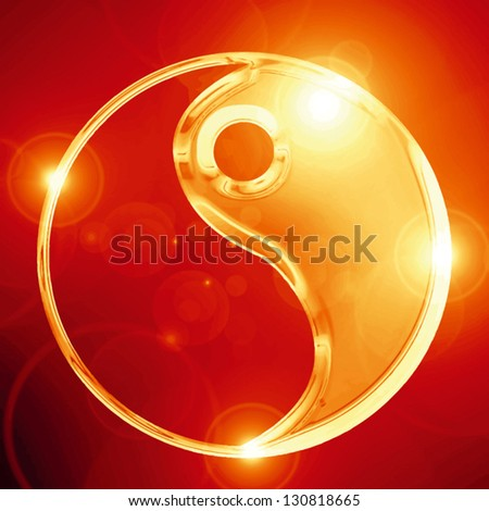 Vector Yin Yang sign on a glowing background - stock vector