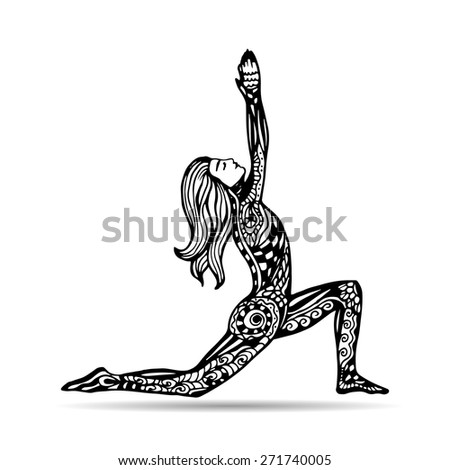 Vector yoga illustration in zentangle style. Girl in yoga pose as emblem for yoga studio, yoga center, fitness center, sport magazine, also for tattoo.  Hand drawn sketch in doodle style.