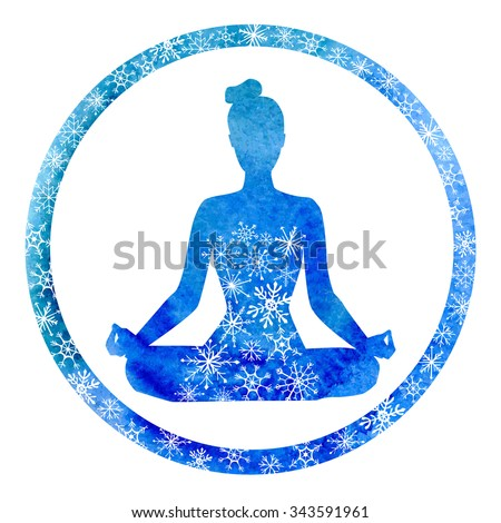 Vector yoga illustration with a silhouette of woman in circle frame. Bright blue watercolor texture and snowy ornament. Winter colors and decorative snowflakes. Lotus pose - Padmasana. - stock vector