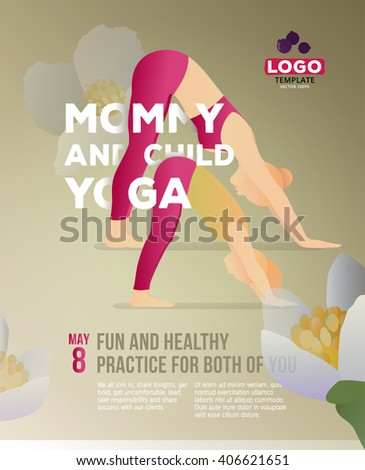 Vector yoga poster illustration to Mother's Day. Yoga Adho Mukha Svanasana moves. Safe and easy exercise, fun and healthy practice for both. Yoga template for children. Mother and child doing exercise - stock vector