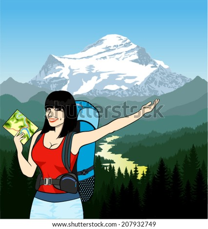 vector young girl traveler with map, backpack and mountains - stock vector