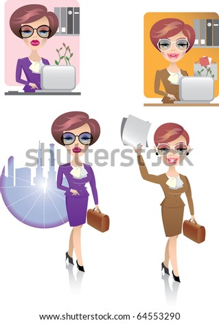 Vector, young woman at working - stock vector