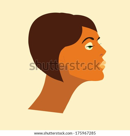 vector young woman face with dark hair and bright make-up