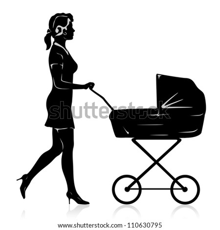 Vector young woman with pram - stock vector