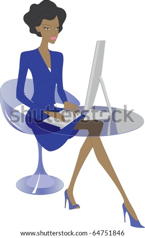 Vector, young woman working - stock vector
