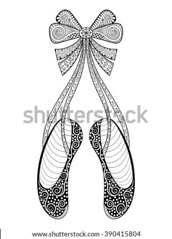 ballet shoes coloring pages - vector zentangle ballet dance shoes symbol stock vector