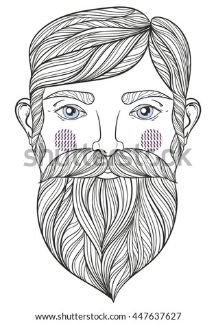 vector zentangle portrait of bearder man with mustache for adult coloring pages tattoo art - Mustache Coloring Pages