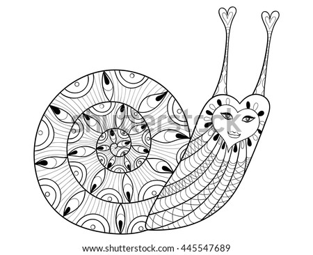 Snail Flowers Vector Hand Drawn