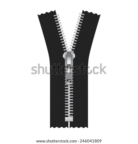 Vector Zipper Illustration Isolated on White Background - stock vector