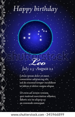 Vector zodiac signs birthday card. Astrological horoscope, constellation. Space and Stars. Leo - stock vector