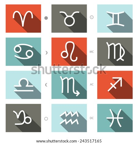 Vector Zodiac Symbols Set - stock vector