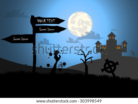 Vector : Zombies and sign with halloween background