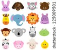 Vector Zoo Animal Faces Set - stock photo