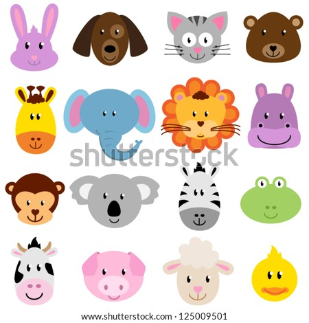 Vector Zoo Animal Faces Set - stock vector