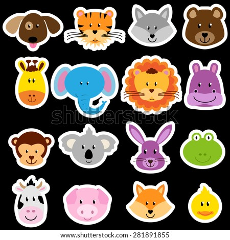 Vector Zoo Animal Sticker Collection - stock vector