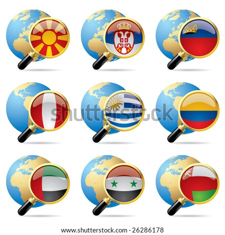 Vector zoom world flag icons with a globe - stock vector