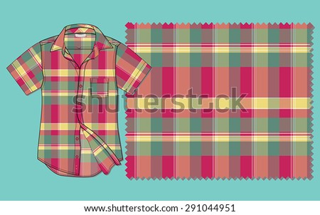 Vectoral short sleeve shirt with plaid pattern. - stock vector