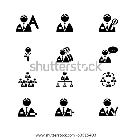 Vectored men icon set for business. Vector. - stock vector