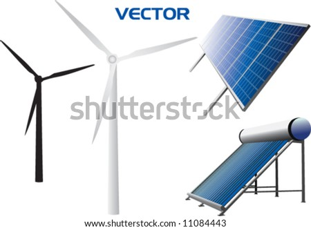 vectorial icons of solar water heating system, solar panels, wind turbines - stock vector