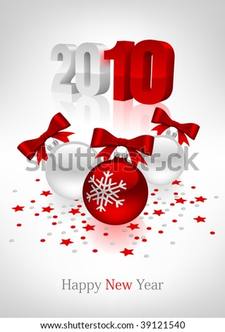 Vectorial postcard to a new year with white and red christmas balls. Mesh gradient - stock vector