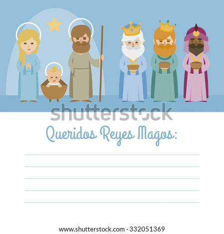 Vectorized letter with Christmas Baby Jesus Nativity with virgin Mary, Father Joseph and the three Kings of Orient wise men - stock vector