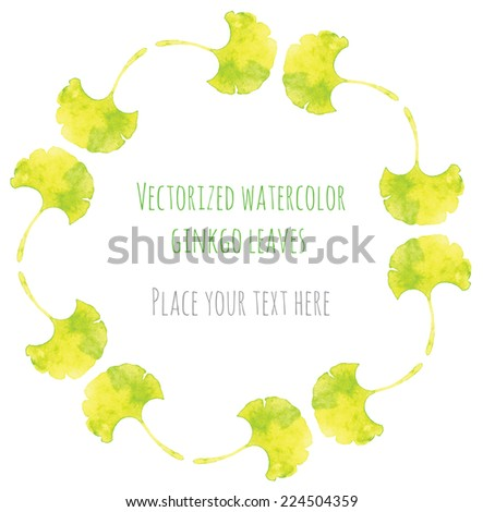 Vectorized watercolor hand drawing frame of leaves ginkgo biloba - stock vector