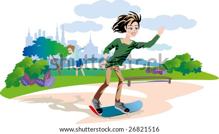 Vectors. Boy and skateboarding. Friends and ride in the park on the board - stock vector