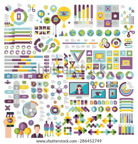 Vectors info graphics set and design elements. - stock vector