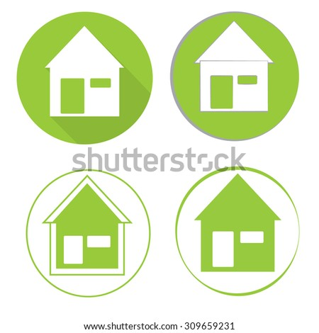 Vectors of eco green house that can be used as logo or icon for property industry.