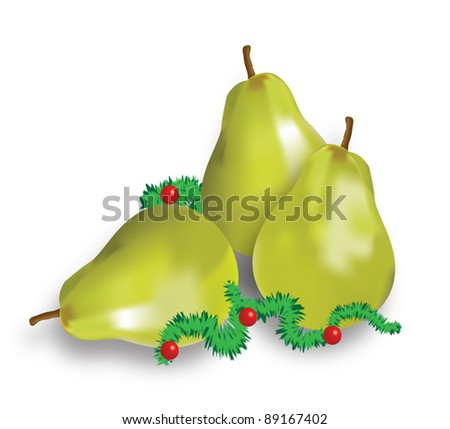 Vectors - Pears decorated for Christmas. - stock vector