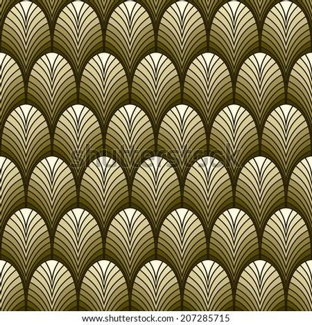 Vectors seamless background with stylized gold art deco pattern
