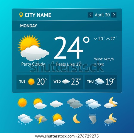 Vectot illustration weather widget for smartphone with icon set isolated on a white background - stock vector