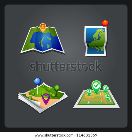 vectror map set icon with pin - stock vector