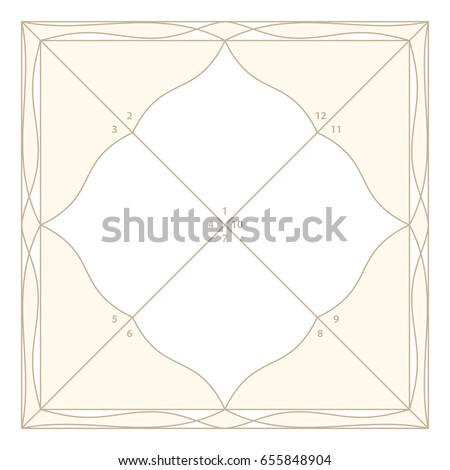Vedic Astrology Diamond Form Chart Template Stock Vector Royalty